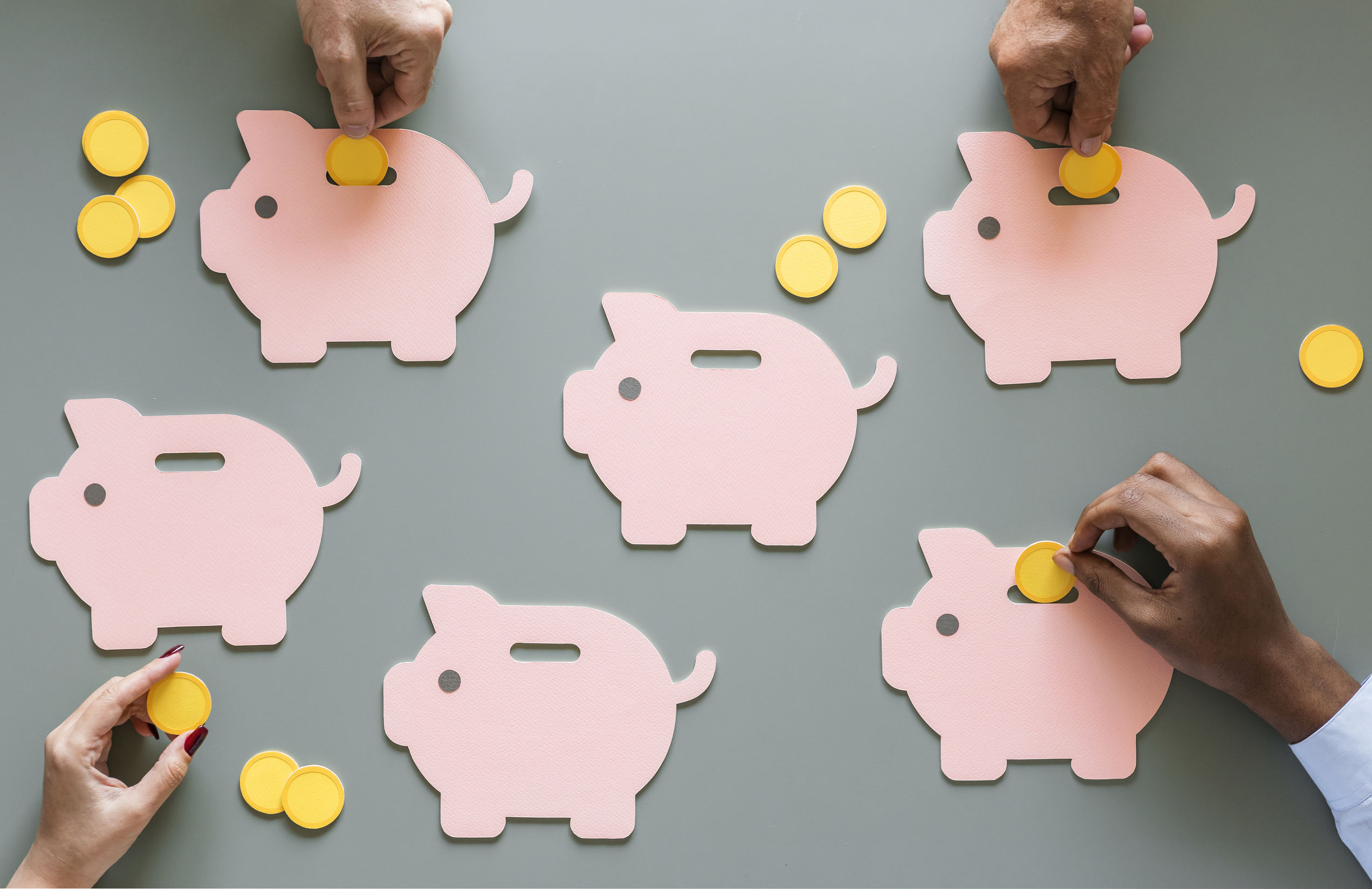 Piggy bank cutouts with coins